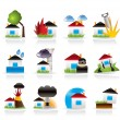 Home and house insurance and risk icons - Image vectorielle