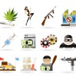 Mafia and organized criminality activity icons — Imagen vectorial