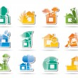 Home and house insurance and risk icons — Stock Vector #5125738