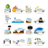 Car and transportation insurance and risk icons — Stock Vector