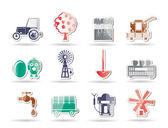 Farming industry and farming tools icons — Stock Vector