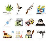 Mafia and organized criminality activity icons — Stock Vector