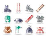 Ícones de equipamento de esqui e snowboard — Vetor de Stock