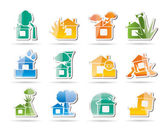 Home and house insurance and risk icons — Stok Vektör