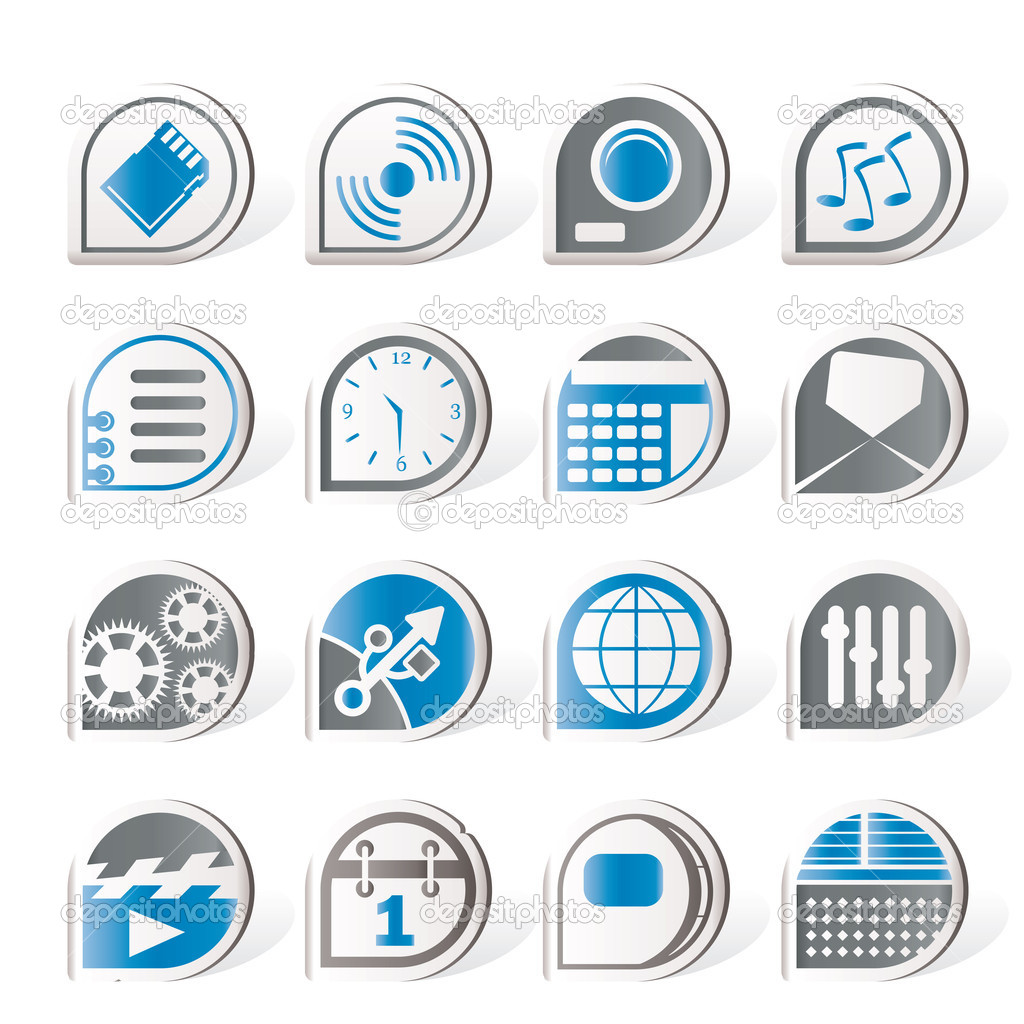 Simple phone  performance, internet and office icons - vector Icon Set — Stock Vector #5124983