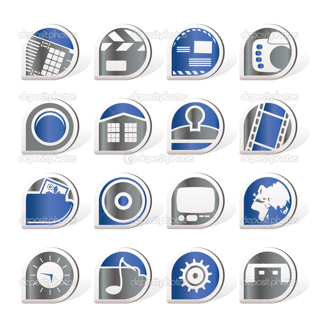 Internet, Computer and mobile phone icons — Stock Vector © stoyanh ...