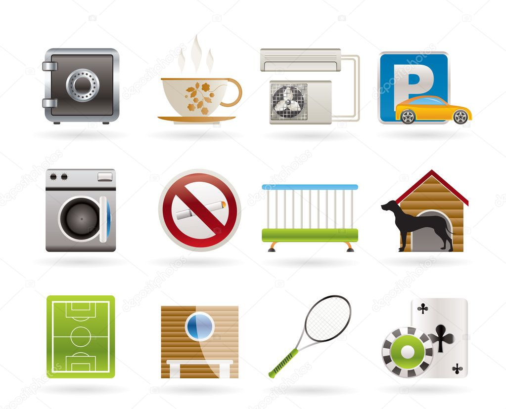 Hotel and motel amenity icons - vector icon set — Stock Vector #5125709