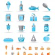 Shop, food and drink icons — Stock Vector