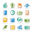 Mobile Phone Performance, Business and Office Icons — Stock Vector