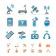 Stock Vector: Wireless and communication technology icons