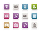 Photography equipment icons — Stock Vector