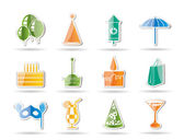 Party and holidays icons — Stock Vector