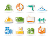 Hotel and motel amenity icons — Stock Vector