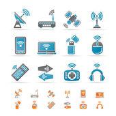 Kablosuz ve iletişim teknoloji simgeleri — Stok Vektör