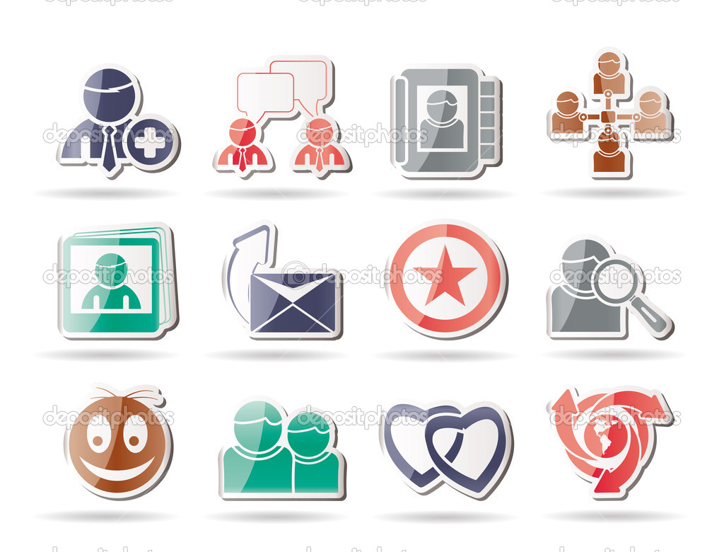 Internet Community and Social Network Icons - vector icon set — Stock Vector #5143053