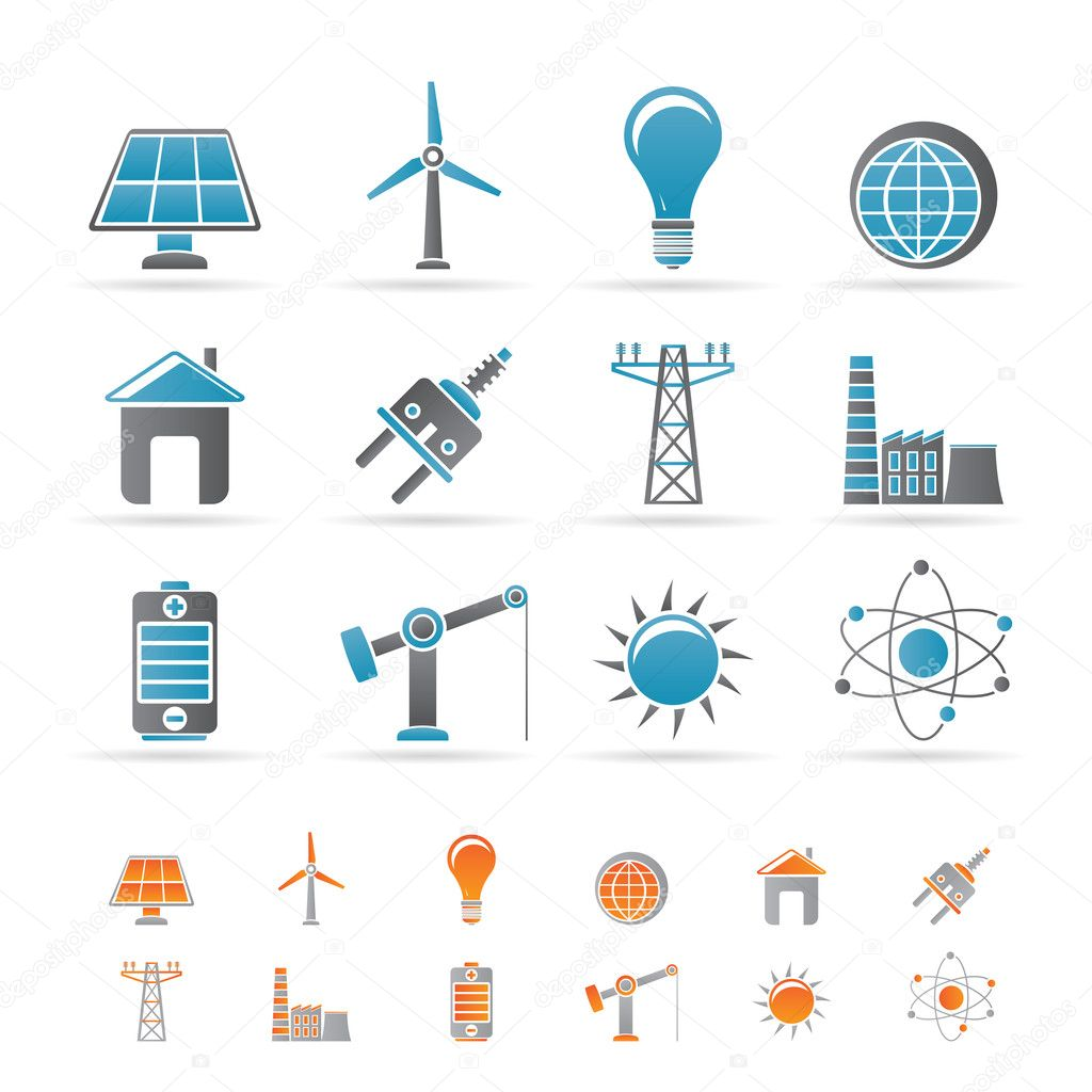 Power, energy and electricity icons - vector icon set — Stock Vector #5143103