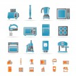 Stock Vector: Kitchen and home equipment icons