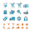 Internet icons for online shop - Stok Vektr