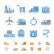 Logistics, shipping and transportation icons - Stockvektor