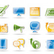 Communication channels and Social Media icons — Stock Vector