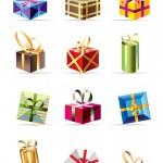 conjunto de cajas de regalo colorido — Vector de stock  #5179189
