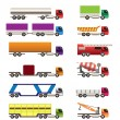 Stock Vector: Different types of trucks and lorries icons
