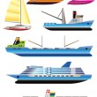 Different types of boat and ship icons — 图库矢量图片