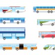 Different types of bus icons - ベクター素材ストック