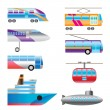 Different types of transportation icons — Stock Vector