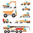 Different types of trucks and  excavators icons - Stock Vector