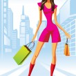 Fashion shopping girls with shopping bag in New York — Stock Vector