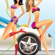 Car wash - sexy fashion models  — Stock Vector