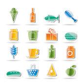 Sklep i żywności ikony — Wektor stockowy