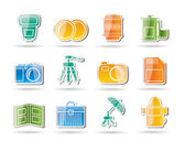 Photography equipment icons — Vector de stock
