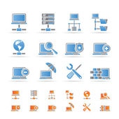 Red, servidor y hosting iconos — Vector de stock