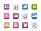 Logistics, shipping and transportation icons — Stock Vector