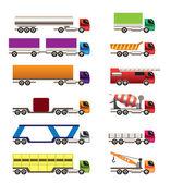 Olika typer av truckar och lastbilar ikoner — Stockvektor