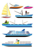 Different types of boat and ship icons — Stock Vector