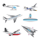 Different types of Aircraft Illustrations and icons — Stock Vector