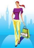 Moda alışveriş çantası londra'da kızlarla alışveriş — Stok Vektör
