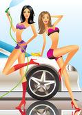 Car wash - sexy fashion models — Stock Vector