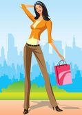 Mode shopping flickor med shopping väska i new york — Stockvektor
