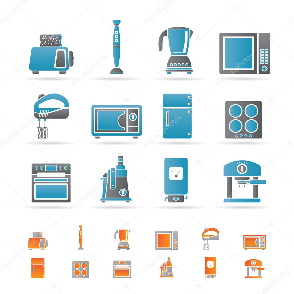 kitchen and home equipment icons stock vector stoyanh 5178859. Black Bedroom Furniture Sets. Home Design Ideas