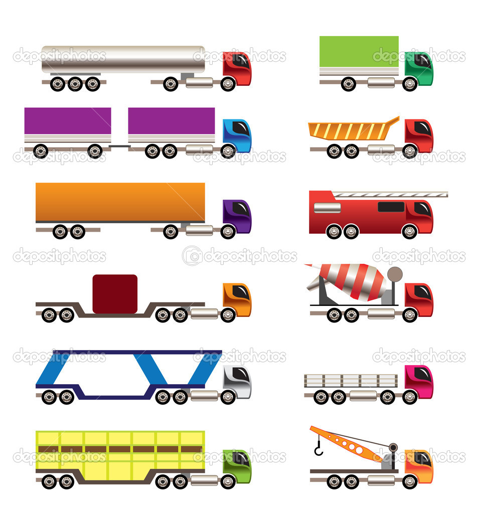 Different types of trucks and lorries icons - Vector icon set — Stock Vector #5179198