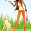 Sexy woman with a dog in the park — Stok Vektör