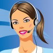 Beautiful young woman with headphones — Stock Vector