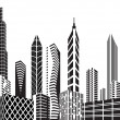 Stock Vector: Black and white city