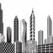 Black and white city - Stock Vector