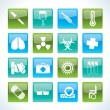 Stock Vector: Collection of medical themed icons and warning-signs