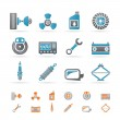 Realistic Car Parts and Services icons - Stockvektor